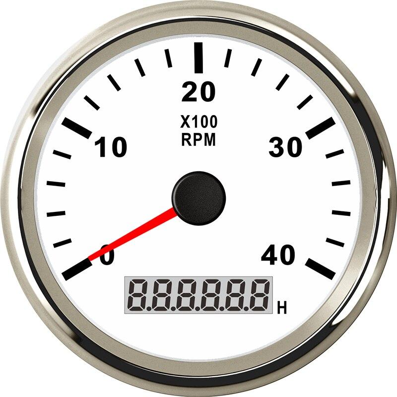 Tachymètre marin 85mm moteur heure mètre 0-4000 tr/min numérique hors-bord camion voiture bateau étanche RPM mètre tacometro auto jauge - 5