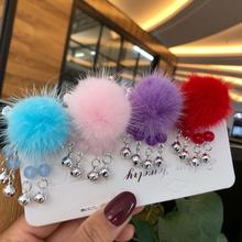 Small Bell Hair Clips for Girls Lovely Plush Ball Tassel Chinese Style Hairpins Barrettes Kids Jewelry Accessories