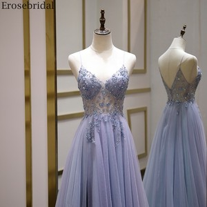 Image 3 - Erosebridal Sexy Illusion Long Prom Dress 2020 Luxury Beads A Line Long Formal Women Evening Gown Party Dress Front Split V Neck