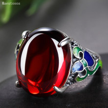 Maestosos Silver 925 Jewelry Red garnet Open Ring Women's Green Agate Stone Ring Vintage Size Adjustable Smart Ring Ladies Gift(China)