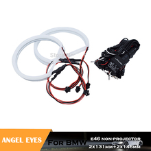 цена на 4pcs white Cotton light headlight angel eyes for E46 AB non projector no error car DRL lights accessory 2x131mm+2x146mm