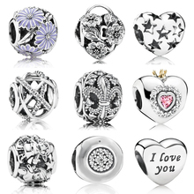 New 100% 925 Sterling silver Shiny  Crown Heart charms Fit Pandora Bracelet Beads For Jewerly Making