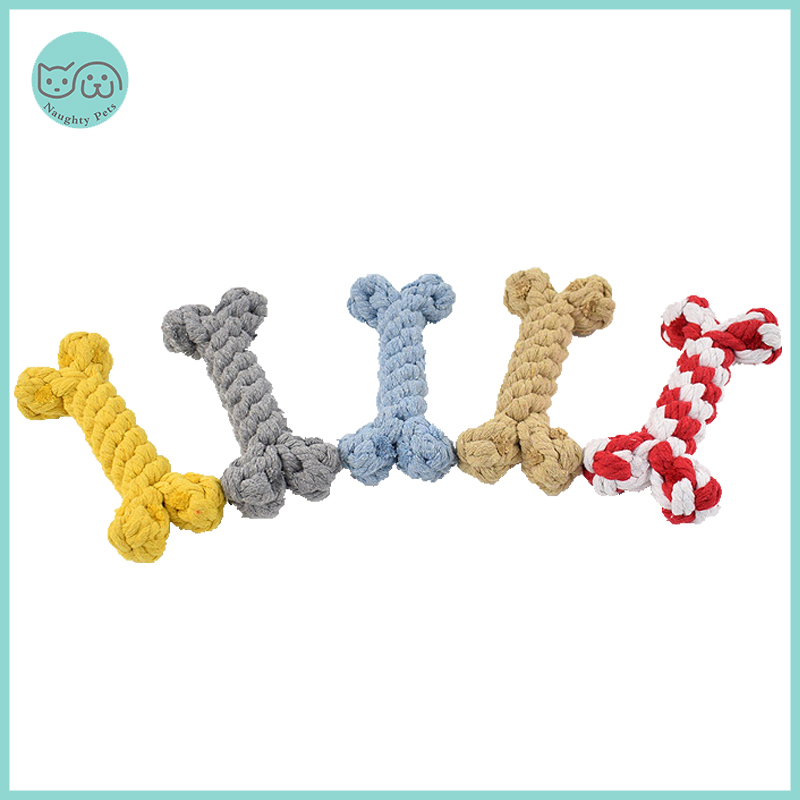 Dog Toys Cotton Bite Resistant Chew Teething Toys Puppy Braided Bones Shape Toy For Large Small Dogs Pets Accessories