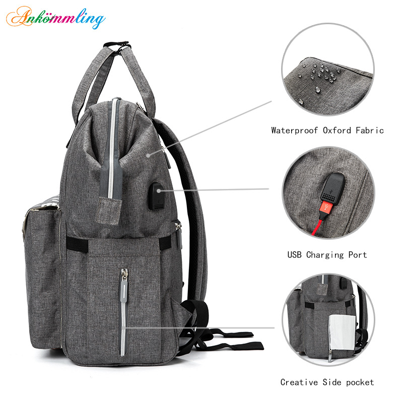 Ankommling Fashion Diaper Bag Multi-Function  USB Large Capacity New Style Printed baby bags Mummy Maternity Nappy Bag