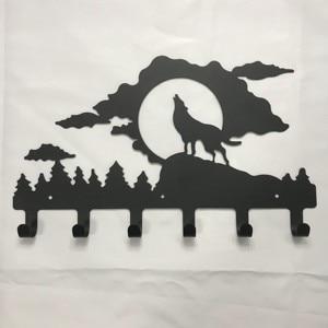 Colgador de pared con forma de Lobo, gancho de Metal para abrigos, sombreros y bolsos, colgador de animales para abrigos, decoración para el hogar de dibujos animados