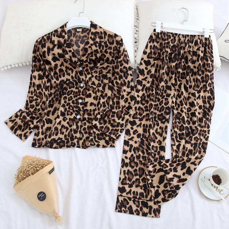 Image 4 - Lisacmvpnel Long Sleeve Pajamas Autumn Ice Silk Long Sleeve Trousers Suit Printing Fashion Pyjamas SetPajama Sets   -