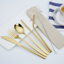 Gold Portable Cutlery Set Fork Knife Spoon Set with Eco Friendly Straw Tableware Set Stainless Steel Cutlery for Travel Camping portable bamboo korean cutlery set wooden tableware knife fork spoon set with eco friendly bamboo straw for travel cutlery set