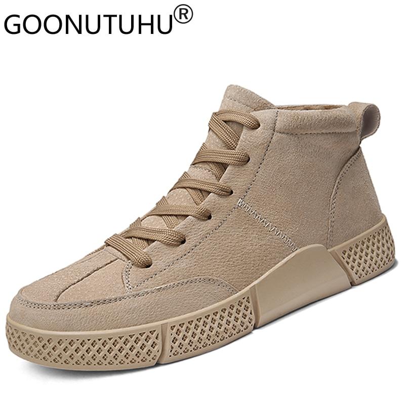 Buy 2020 style fashion men's shoes casual suede leather classics khaki gray black lace up retro shoe man nice platform shoes for men