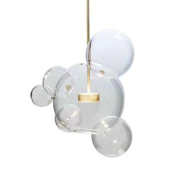 LED Postmodern Iron Glass White Blue Clear Bubbles Chandelier Lighting Suspension Luminaire Lampen Lustre For Dinning Room