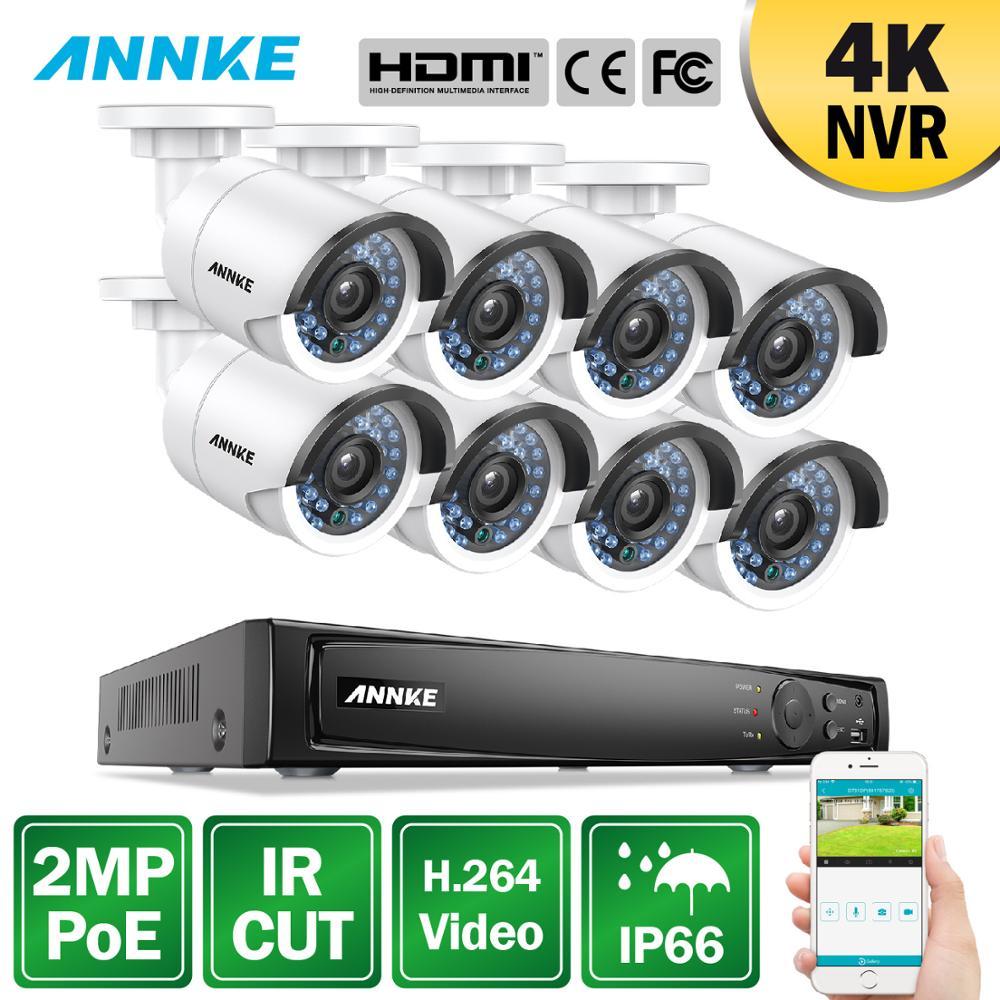ANNKE 8CH 1080P POE NVR sistema de seguridad 4K NVR con 8 Uds 4mm 2MP a prueba de intemperie IR corte cámaras de visión nocturna H.264 Kit de vigilancia