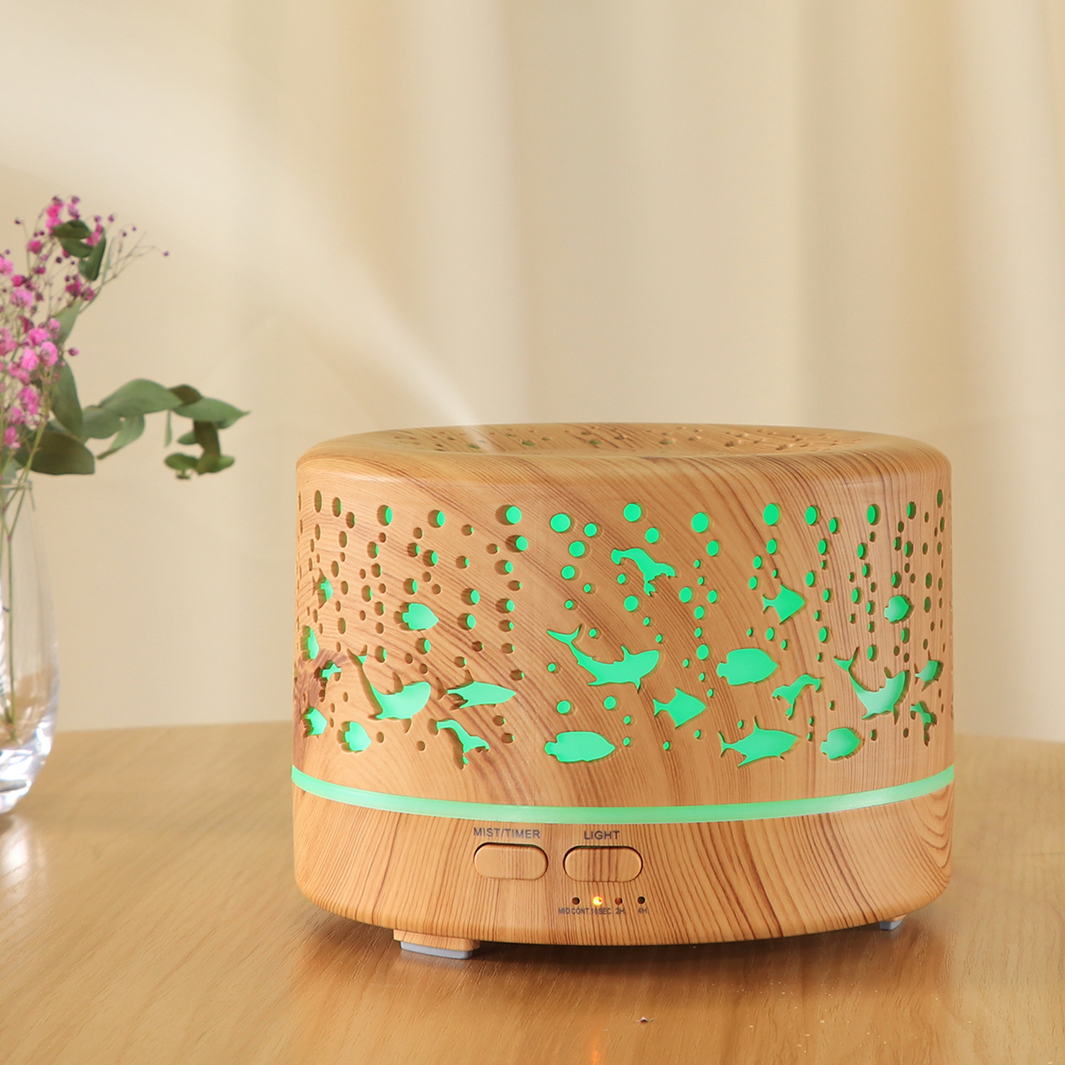Wood Grain 700ml Ultrasonic Air Humidifier Aromatherapy Essential Oil Aroma Diffuser Cool Mist Humidifier for Office Home