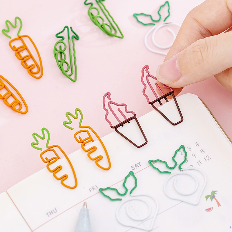 10pcs Creative Kawaii Carrot Ice Cream Shaped Mini Paper Clips Clear Binder Clips Notes Letter Paper Clip Stationery