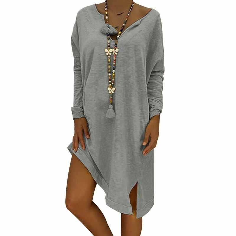 Laamei 2020 אביב גדול גודל סתיו ארוך שרוול Loose נשים שמלה סיבתי מוצק שמלות צד פיצול נשי Vestido Robe Femme