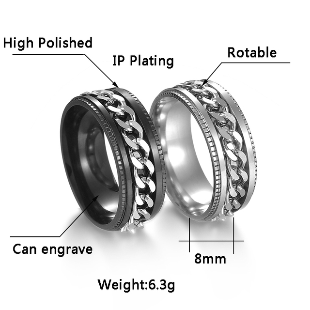 Letdiffery Cool Stainless Steel Rotatable Men Ring High Quality Spinner Chain Punk Women Jewelry for Party Gift 2