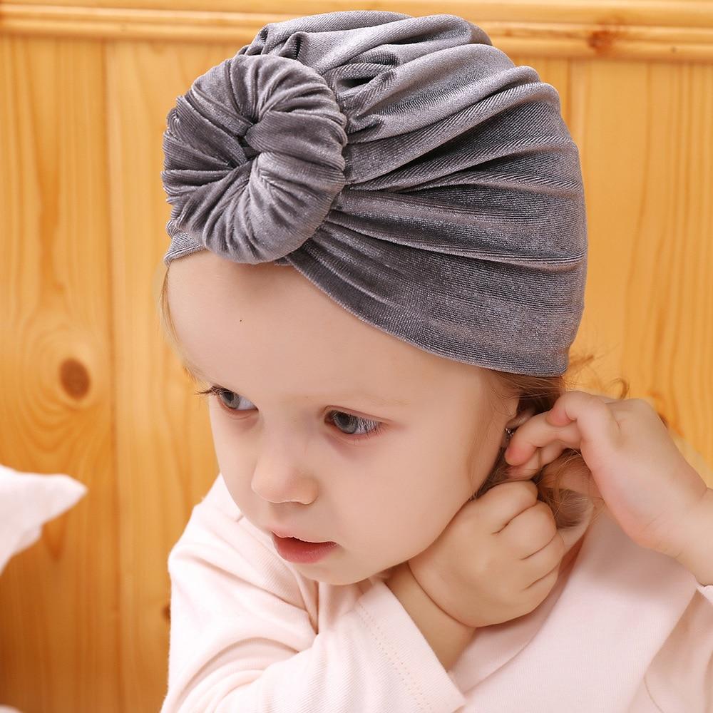 Baby Girls Top Knot Beanie Hat Muslim Women Headwraps Turban Donut Bonnet Toddler Kids Baby Photography Props Hats KIDOCHEESE