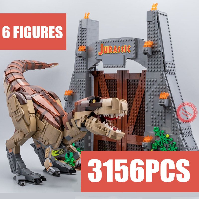 New Jurassic World T.REX RAMPAGE Park Fit Legoings Dinosaur Building Blocks Figures Bricks 75936 Toys Kid Gift