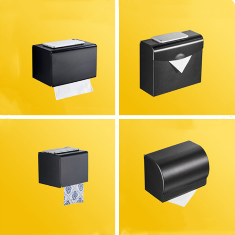 Hole-Perforated Black Alumimum Toilet Mobile Phone Stand Home Roll Paper Toilet Paper Holder Health Tissue Box
