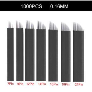Image 1 - 1000Pcs 0.16mm black Lamina Tebori nano Microblading Needles for Permanent Makeup Tattoo Blades Eyebrow Manual Pen 3D Embroidery
