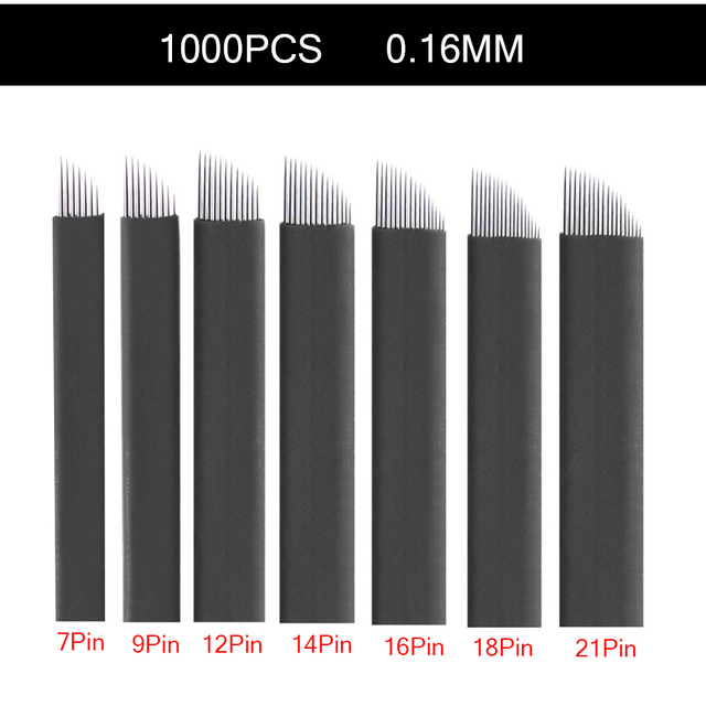 1000Pcs 0.16mm black Lamina Tebori nano Microblading Needles for Permanent Makeup Tattoo Blades Eyebrow Manual Pen 3D Embroidery