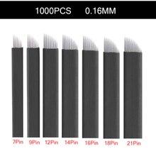 Lames de Microblading noires, broderie 3D, stylo manuel, 1000 pièces, 0.16mm, Lamina Tebori nano, pour maquillage Permanent, tatouage