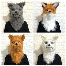 2019 pode abrir a boca raposa máscara animal traje de halloween make-up dança bonito dos desenhos animados engraçado adereços