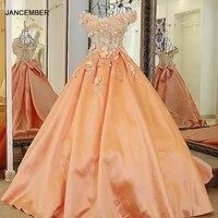 LS60080 orange and ivory robes de soiree longue off the shoulder V neck appliqued satin formal gowns long peach evening dress