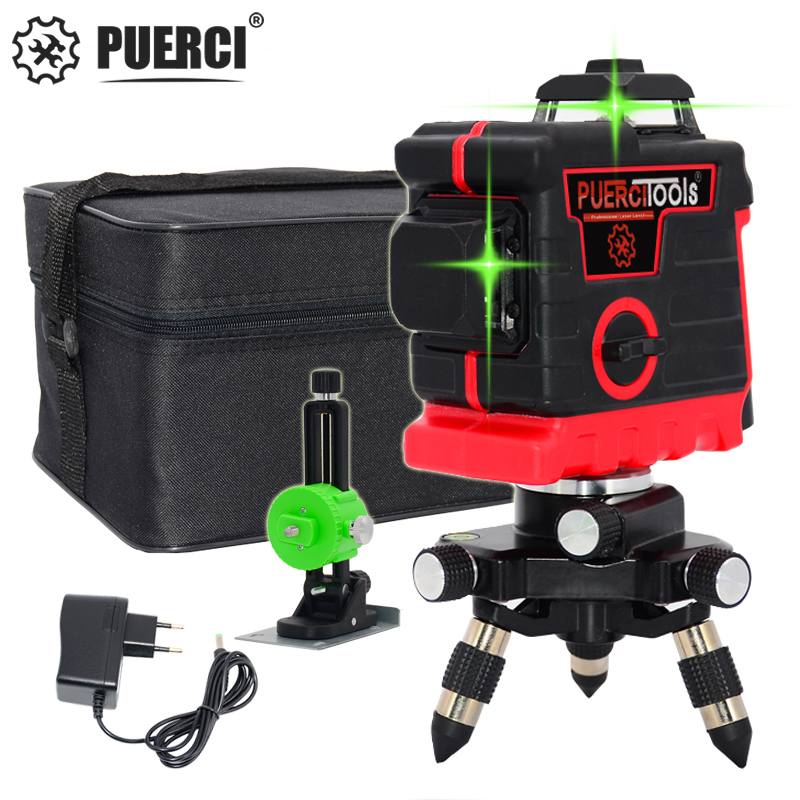 PUERCI  Green Laser Level 12 Lines 3D Level Self-Leveling 360 Horizontal And Vertical Cross Super Powerful Green Laser Level