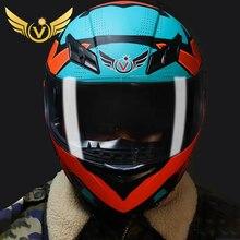 LED licht Motorrad Helm Full Face Helm Berufs Motorrad Racing Helm DOT Off Road Casco Motocross Smart Helm