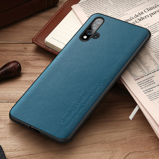 Simple Fashion Case For Honor 20 Pro Cases Thin Genuine Leather & Silicone Shockproof Back Case Cover For Huawei Honor 20/ Pro