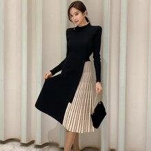 Nova chegada moda feminina elegante escritório senhora trabalho estilo de alta qualidade inverno grosso quente malha elástica retalhos a-line vestido