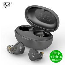 Kz s1 s1d tws fone de ouvido sem fio, verdaeiro, bluetooth 5.0, dinâmico/híbrido, fotos de uso esportivo com controle de toq
