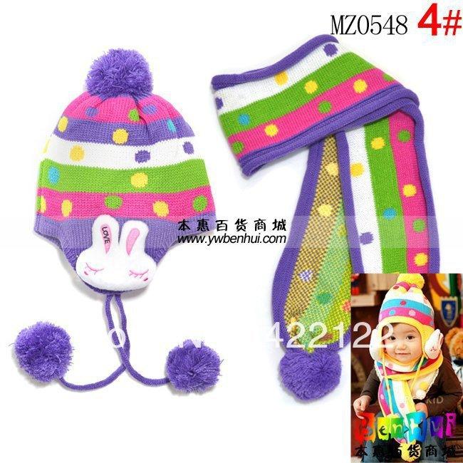 Winter Keep Warm Knitted Hats For Boy/girl/kits Hats,infants Caps Beanine Chilldren-LOVE Rabbit Scarf, Hat Mz0548-5pcs