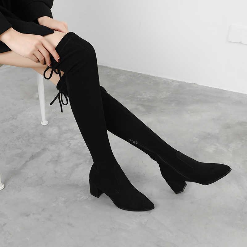 Yeni seksi uyluk yüksek çizmeler kadın yüksek topuk çizmeler bayan over-the-diz çizmeler kadın kış ayakkabı kadın botas süet