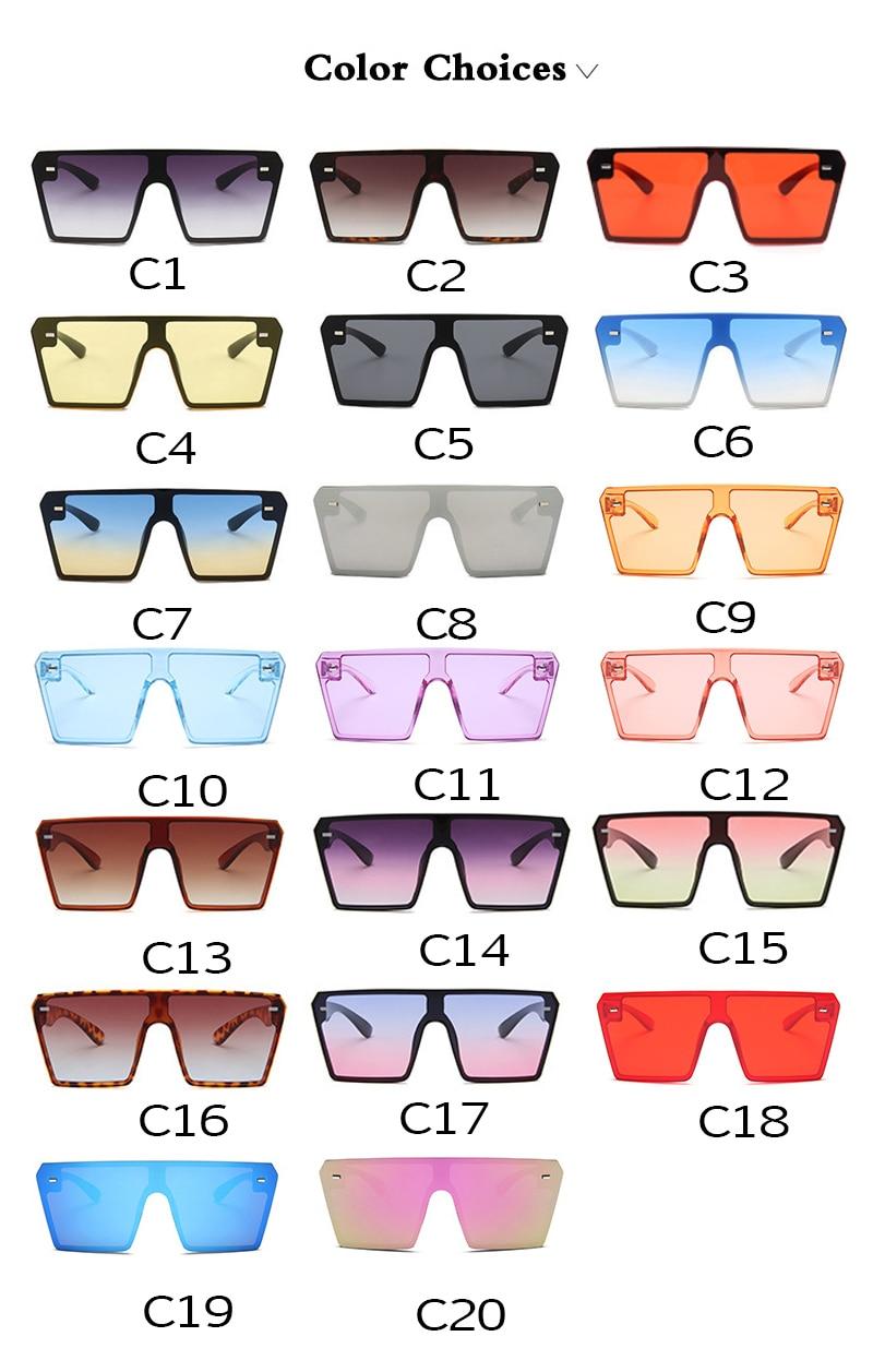 Oversized Square Sunglasses Women 2021 Luxury Brand Fashion Flat Top Red Black Clear Lens One Piece Men Gafas Shade Mirror UV400 6