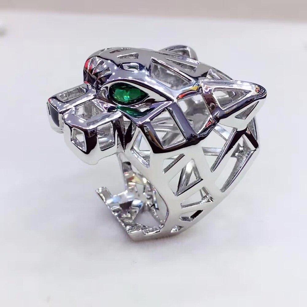 Créateur de luxe mode 925 bijoux en argent Sterling AAA qualité cubique zircone fête panthère anneau forme léopard