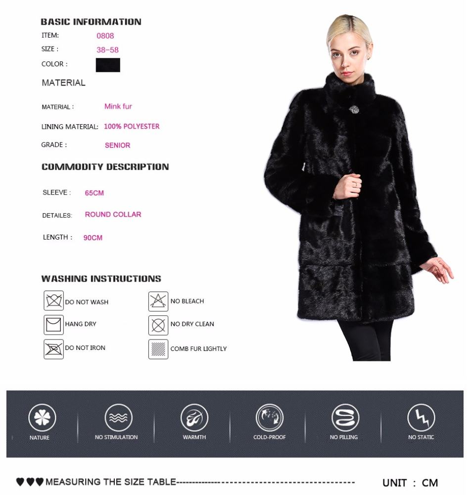 Real Fur Coat Mink Women Winter Natural Fur Mink Coats And Jackets Female Long Warm Vintage Women Clothes 2019 Plus Size 6XL 7XL 77