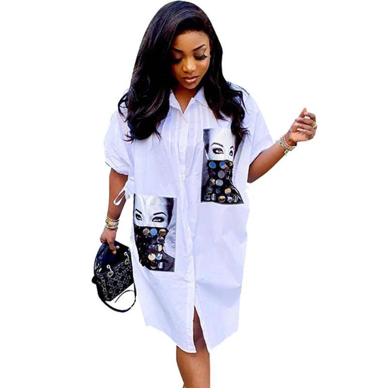 Robe chemise blanche ample femmes décontracté robe Streetwear automne demi manches impression caractère col rabattu bouton chemise robe