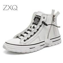 Личность Мужчины Высокие Верхние Кожаные Ботинки Популярный Тренд Дышащий Все Матч Кроссовки