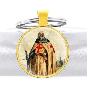 Jacques De Molay Knights templariusz wielki projekt szkło Cabochon metalowy breloczek urok mężczyźni kobiety klucz pierścionek biżuteria na prezent breloki