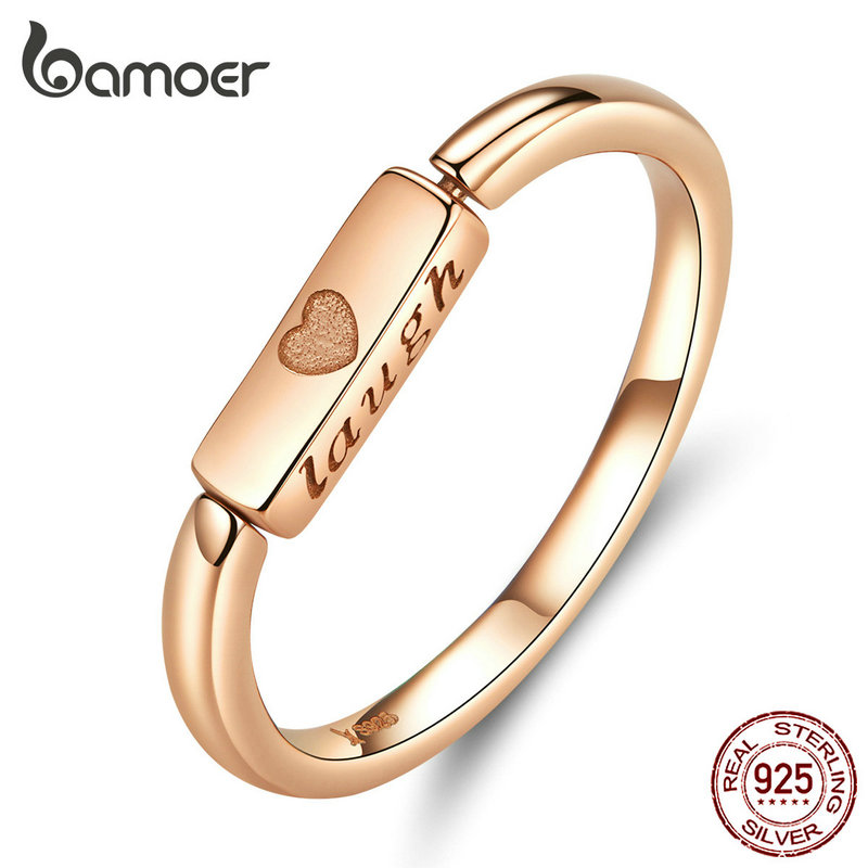 Bamoer Flipping Finger Ring For Women Genuine 925 Sterling Silver Live Laugh Engrave Courage Rings 2019 New Design SCR587