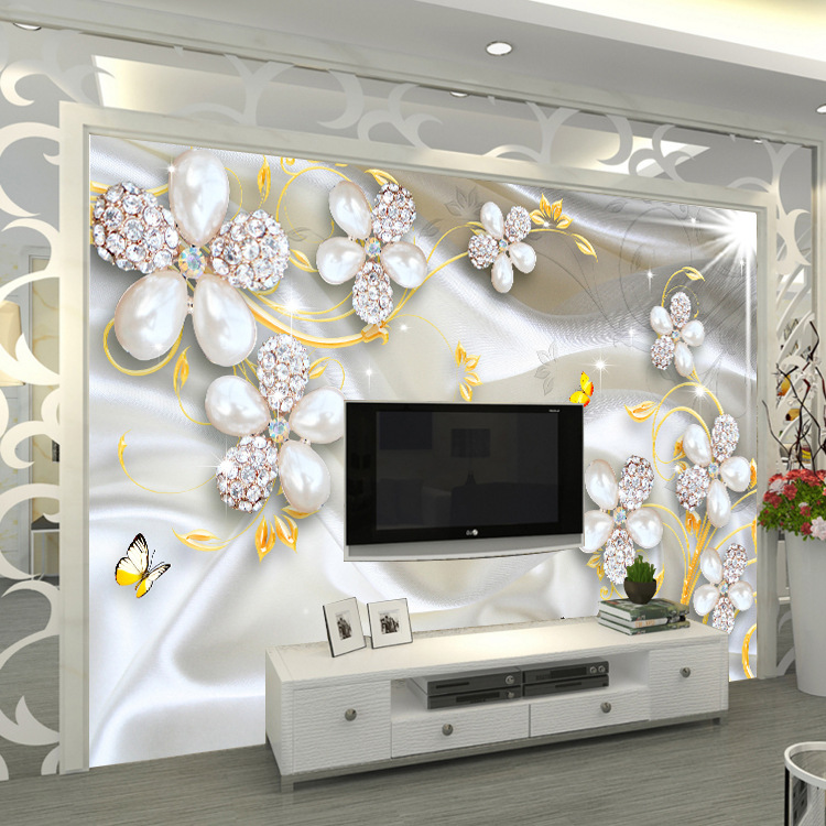 European Style Jewelry Diamond Mural Palace TV Backdrop Wallpaper Luxury Wallpaper Living Room Wallpaper 5D Bump Mural