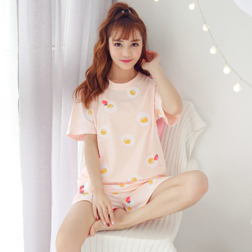 2019 Summer Short-sleeved Pajamas WOMEN'S Suit Korean-style Women's Tracksuit 6535 Cotton M -Xxl