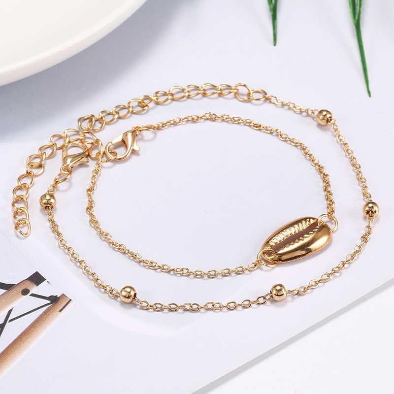 S166 Bohemen Shell Multi-lagen Goud Zilver Kralen Pailletten 2 Stuks Set Armband Voor Vrouwen Sieraden Voet Ketting Enkelbanden accessoires