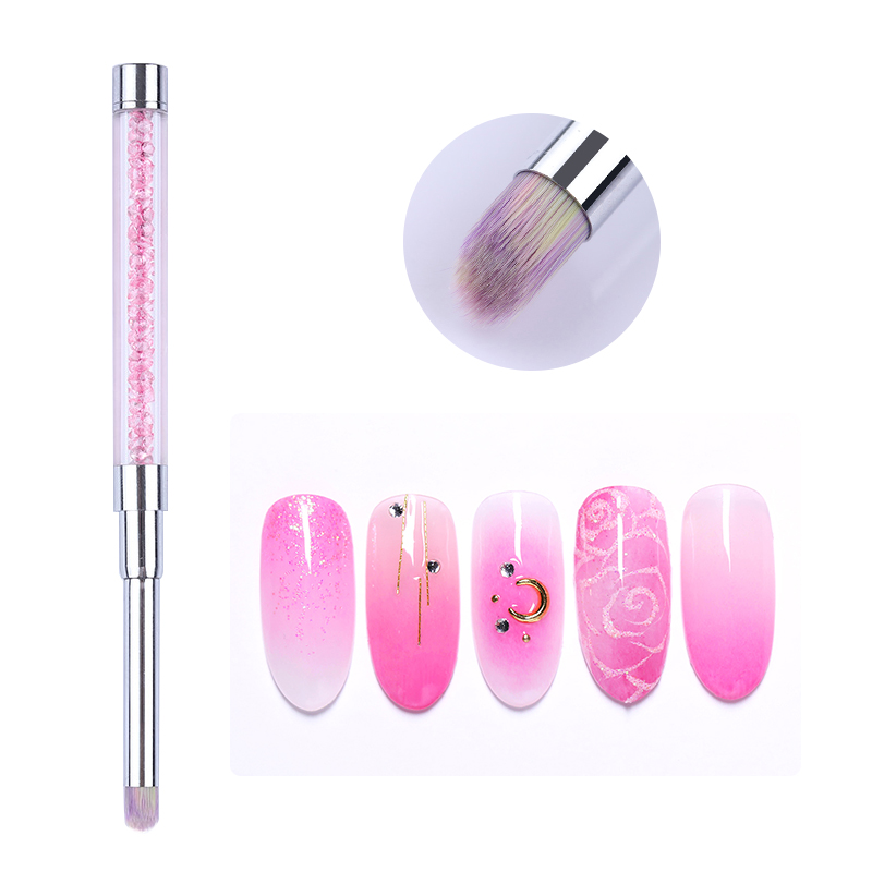 1 Pc Gradient Pencil Nail Art Brush Drawing Rhinestones Acrylic Pink Handle Painting Pen Nail UV Gel Tips DIY Nail Art Tool
