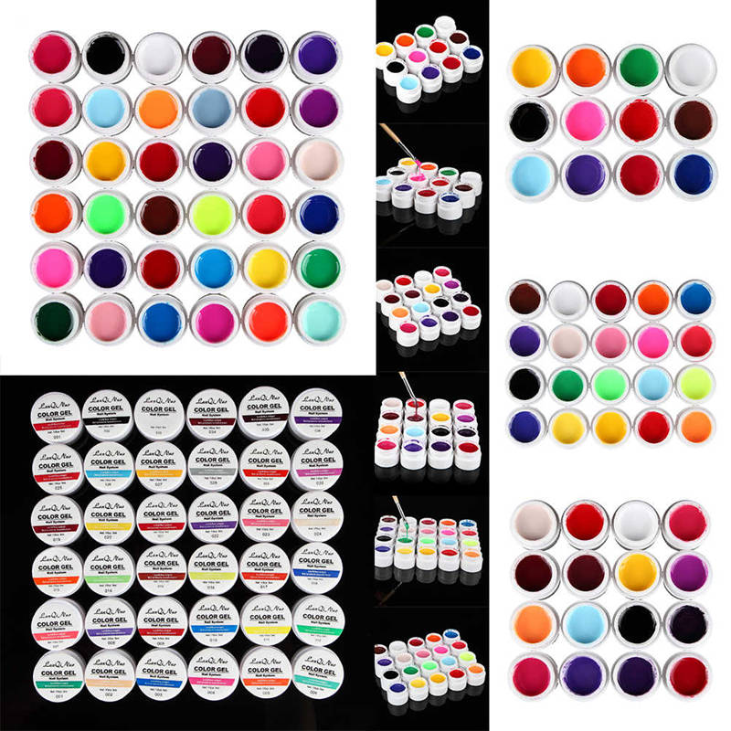 12/16/20/36 Colors UV Gel Set Pure Cover Color Decor For Nail Art Tips Extension Manicure DIY Tools