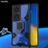 Funda armadura a prueba de golpes para Huawei P50 Pro, cápsula espacial, soporte de anillo funda trasera del teléfono para Huawei P50 Pro