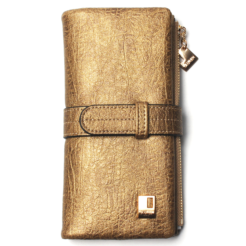 Теперь еще дешевле! Новые модные женские кошельки, кошелек из нубука на молнии, Женский Длинный дизайнерский кошелек, два сложения, много цветов, клатч - Цвет: Gold