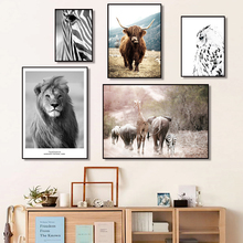 Lion Zebra Elephant Cow Nordic Animal Posters And Prints Wall Art Canvas Painting Decorative Pictures For Living Room Home Decor lion zebra elephant cow nordic animal posters and prints wall art canvas painting decorative pictures for living room home decor