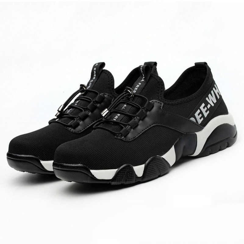 Manlegu erkek çelik ayak iş güvenliği ayakkabıları erkekler kış rahat nefes iş ayakkabısı açık ayakkabı delinme geçirmez çizmeler