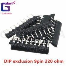 20 pces dip exclusão 9pin 220 ohm 220r a221 a221j rede resistor array